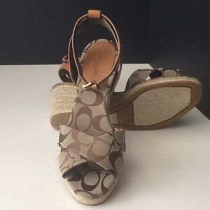Coach Wedge Sandals w/Leather Ankle Strap Sz 7.5